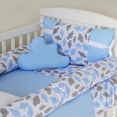 Kit de Berço com Nuvem e Rolinho Chuva de Amor Azul 12 Pçs 100% Algodão Larissa Baby