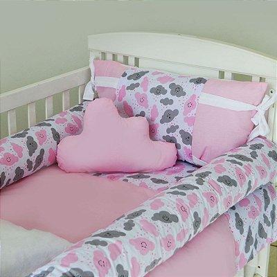 Kit de Berço com Nuvem e Rolinho Chuva de Amor Rosa 12 Pçs 100% Algodão Larissa Baby