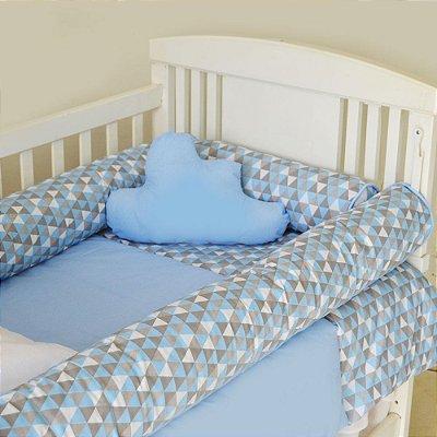 Kit de Berço com Nuvem e Rolinho Harmony Azul Claro 12 Pçs 100% Algodão Larissa Baby