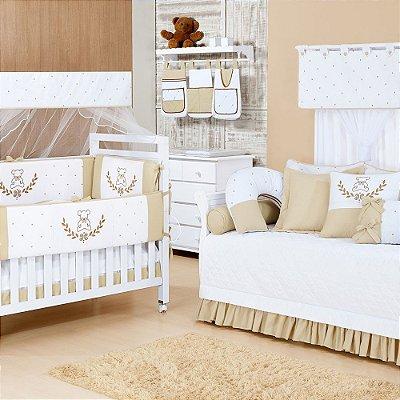 Quarto de Bebê Completo TEDDY Nobre com Cama Babá Luxo 100% Algodão = 30 Peças