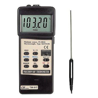 Termômetro Digital Centesimal PT-100 Termopar 1 canal TM-917 Lutron
