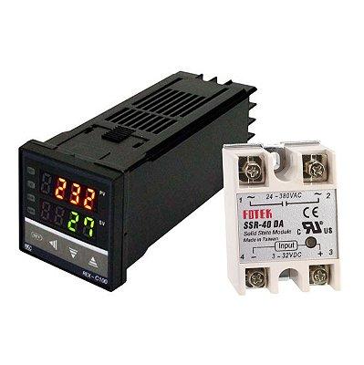 Controlador Temperatura SSR PID, com Rele e Temopar K