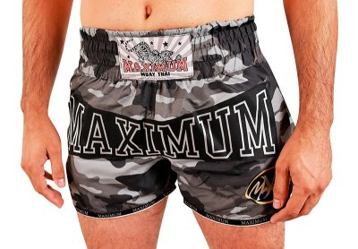 Shorts de Muay Thai Maximum Camuflado Cinza