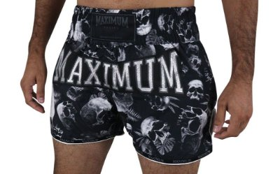Shorts de Muay Thai Maximum Caveira - Logo Prata