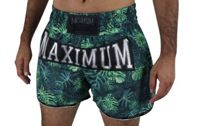 Shorts de Muay Thai Maximum Folhas Verde - Logo Prata