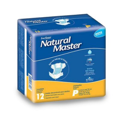 Fralda Geriátrica Natural Master Regular P 12 Unidades