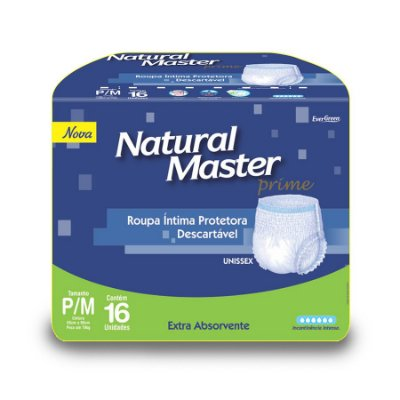 Roupa íntima Natural Master P/M 16 Unidades