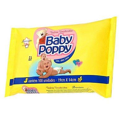 Toalha Umedecida Baby Poppy com 100 Unidades