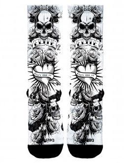 Meia Elite Tattoo Caveira e Rosas - Cano Médio
