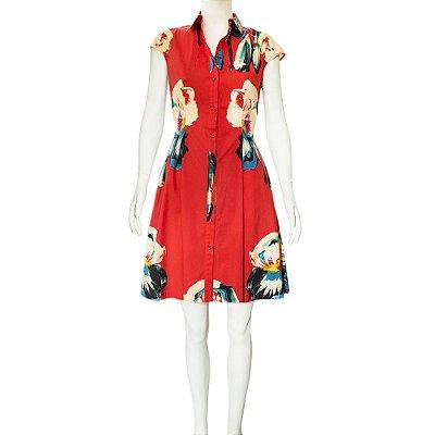 LELA ROSE | Vestido Lela Rose Elastano Estampado Vermelho