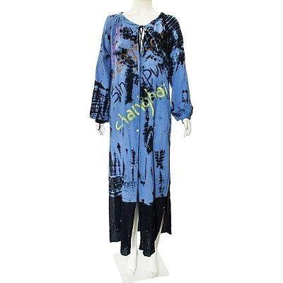 MARIANA PENTEADO   Vestido Mariana Penteado Algodão Azul Tie Dye