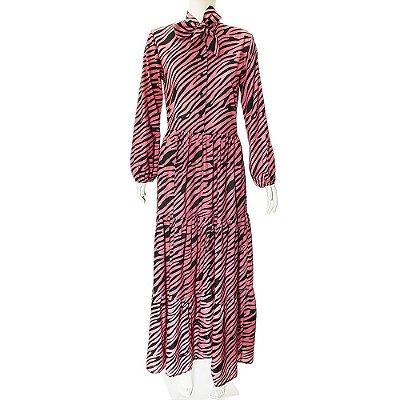 PADED | Vestido Paded Algodao Estampado Rosa e Preto