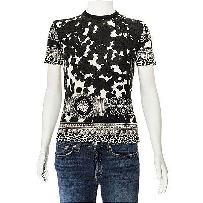 VERSACE | Camiseta Versace Lã Preta Estampada