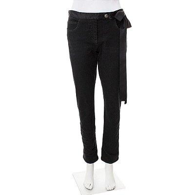 CHANEL | Calça Chanel Jeans Preta Laço