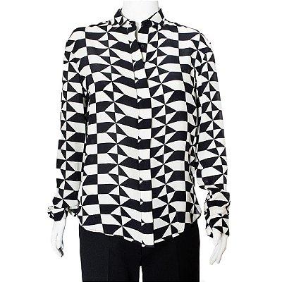 REINALDO LOURENÇO | Camisa Reinaldo Lourenço Preta e Branca Geométrica