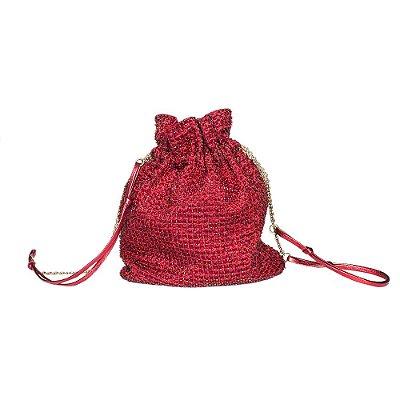 PRADA   Bolsinha Prada Seda e Miçangas Vermelha