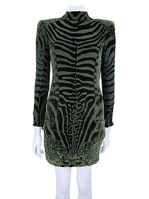 BALMAIN | Vestido Balmain Veludo Devore Verde
