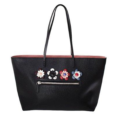 FENDI | Bolsa Sacola Com Flores Fendi Couro Preta