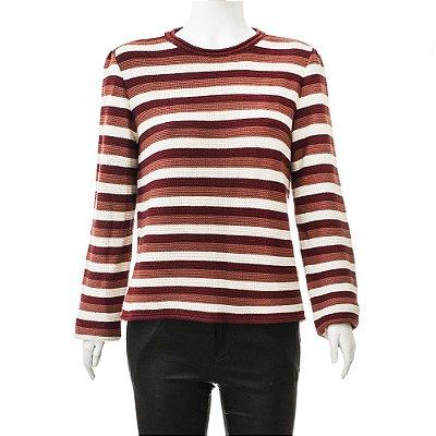 MIXED | Blusa Suéter Listrada Mixed Algodão Creme e Vinho