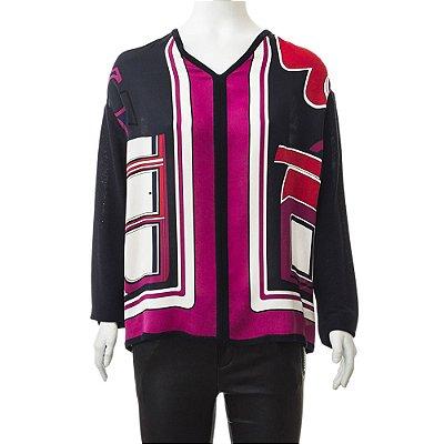 HERMÈS | Blusa Hermès Seda e Lã Estampada e Azul Marinho