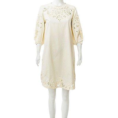 MIXED | Vestido Rendado Mixed Algodão Amarelo