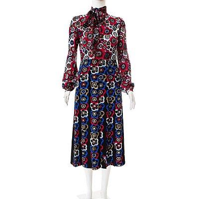 VALENTINO | Vestido Pregas Valentino Seda Estampado