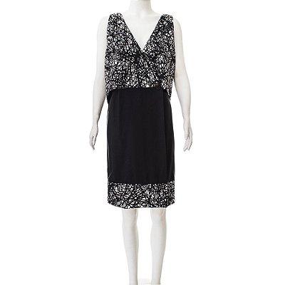 BALENCIAGA | Vestido Colete Balenciaga Seda P&B Estampado