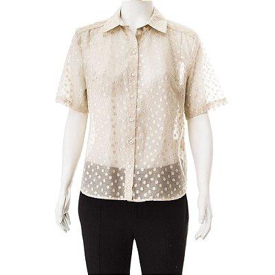 TALIE NK | Camisa Manga Curta Talie NK Algodão e Poliéster Dourada