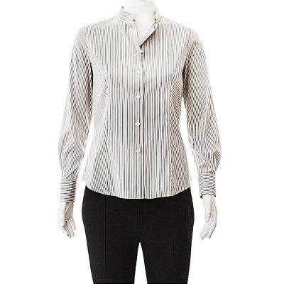 GIORGIO ARMANI | Camisa Sem Gola Giorgio Armani Algodão Listrada Cinza e Branco