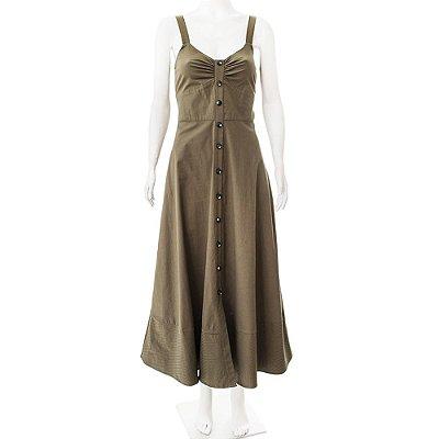 MIXED | Vestido Abotoado Mixed Algodão e Elastano Verde Oliva