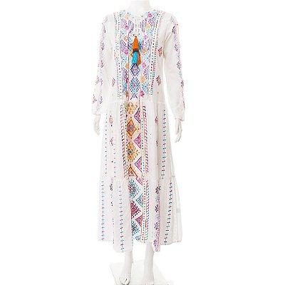 MARIANA PENTEADO | Vestido Marroquino Mariana Penteado Algodão Branco