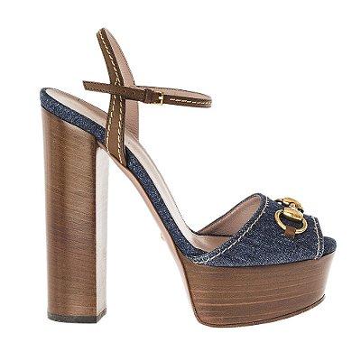 GUCCI   Sandália Plataforma Gucci Jeans Azul