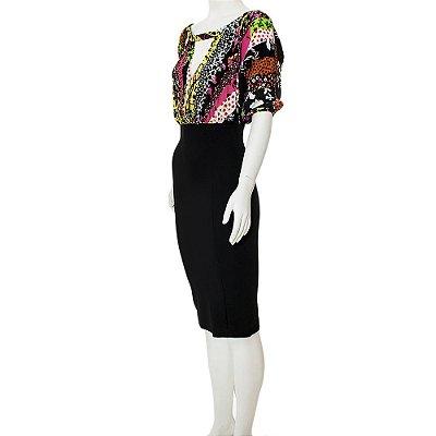 VERSACE | Vestido Versace Seda e Viscose Preto e Estampado