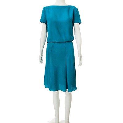 GUCCI | Vestido Decote Costas Gucci Seda Azul