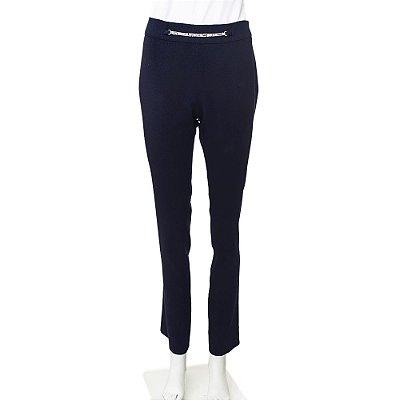 VERSACE | Calça Corrente Versace Lã e Elastano Azul Marinho