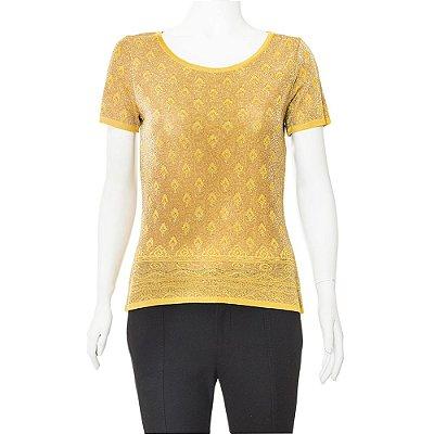 YVES SAINT LAURENT | Camiseta Manga Curta Yves Saint Laurent Lurex Dourada