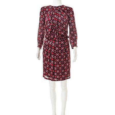 GUCCI | Vestido Gola Drapeada Gucci Seda Estampado