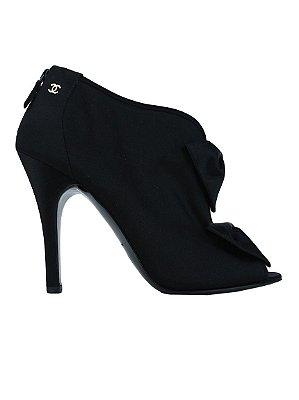 CHANEL   Ankle Boot Laço Chanel Seda Preta