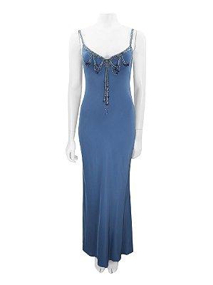 RALPH LAUREN | Vestido Bordado Ralph Lauren Seda Azul Celeste