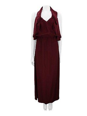 GUCCI | Vestido Frente Única Gucci Seda Vinho