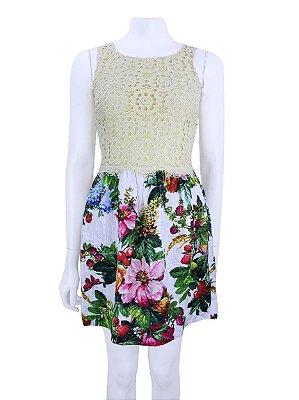 DOLCE & GABANNA | Vestido Dolce & Gabanna Renda e Jacquard Estampa Floral