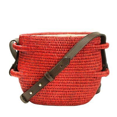 KHO KHO | Bolsa Kho Kho Tipo Cesta Palha Vermelha