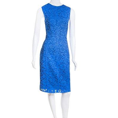 CAROLINA HERRERA | Vestido Carolina Herrera Algodão Rendado Azul