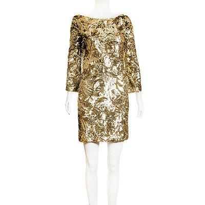MARCHESA | Vestido Marchesa Paetes Dourados