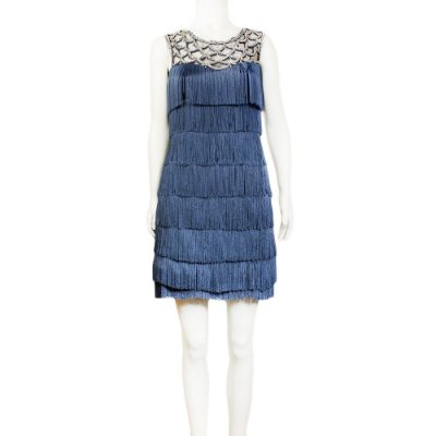 MIKAEL AGHAL | Vestido Mikael Aghal Viscose e Franjas Azul