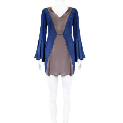SOPHIA HEGG | Vestido Sophia Hegg Seda Azul e Cinza