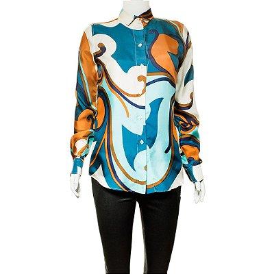 DOLCE & GABBANA | Camisa Dolce & Gabbana Seda Estampada Azul
