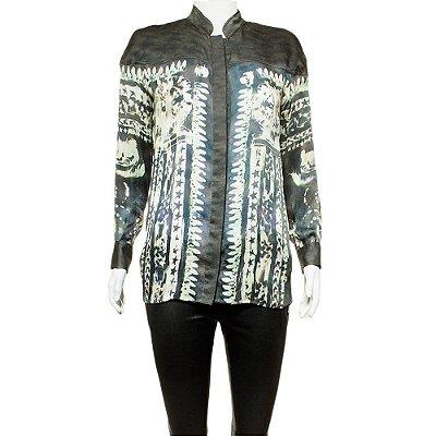 BALMAIN | Camisa Balmain Seda Estampada Cinza