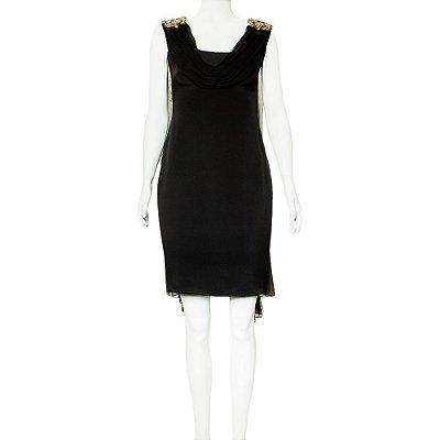MARCHESA | Vestido Marchesa Seda Preto
