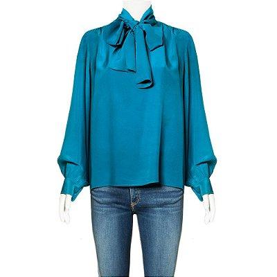 YVES SAINT LAURENT | Blusa Yves Saint Laurent Seda Azul